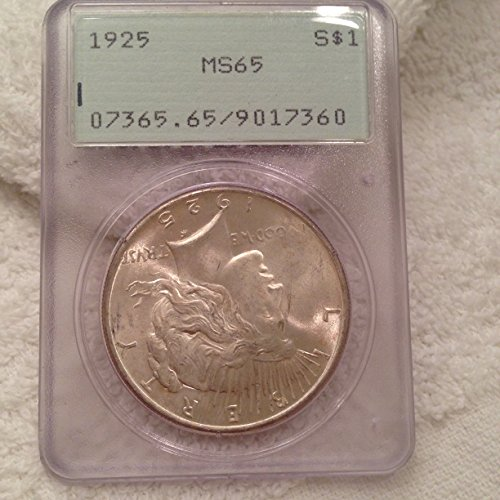 1925 PEACE SILVER DOLLAR $1 MS65 PCGS