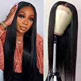 Nancy Best Hair 4X4 Lace Front Wigs Human Hair Pre Plucked Brazilian Straight Human Hair Lace Front Wigs for Black Women 150% Density, Lace Closure Human Hair Wigs with Baby Hair(20 Inch, Closure Wig)