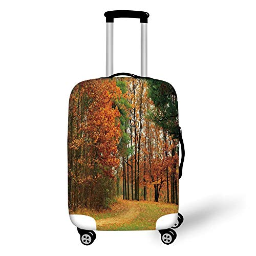 Travel Luggage Cover Suitcase Protector,Fall Decor,Cloudy Overcast Day in September Shrubs Pines Sidewalk in Park Forest,Orange Green Brown,for TravelXL 29.9x39.7Inch