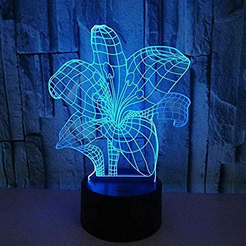 3D-Licht Nachtlamp, 3D Led Usb Slaapkamer Nachtlampje Planten Leliebloemvormige Woonkamer Multicolor Decoratieve Tafellamp Verlichting Kabel Vriendengift