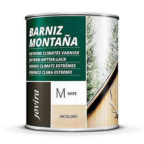 BARNIZ MADERA MONTAÑA (Barniz madera exterior-interior, barniz madera incoloro-transparente). Especial resistencia en zonas montañosas (750 ml, MATE)