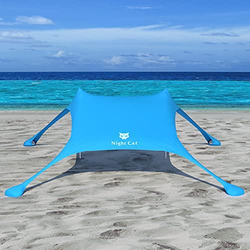 Night Cat Tenda da Spiaggia Lycra Tendalino da Spiaggia Parasole da Spiaggia Protezione UV UPF50+ con Ancoraggi a Sacco di Sabbia Portatile per Spiaggia Picnic Pesca Campeggio