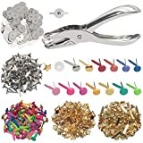 200 Pieces Paper Fasteners Brads, Multi Color Mini Brads Round Fasteners with 200 Pieces Silver Washers and Single Hole Metal Punch Pliers, Metal Paper Brads for Craft, Scrapbooking, DIY Supplies