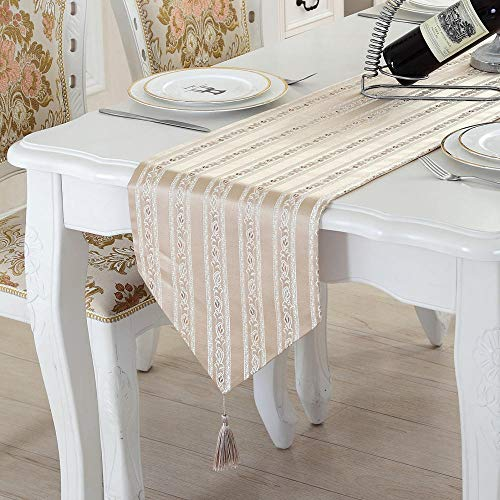 Table Cloth Hidrofuga Mesa De Centro Larga Decorada con Mesa De Centro, Mueble De TV, Azul Claro con Borla Marrón Claro