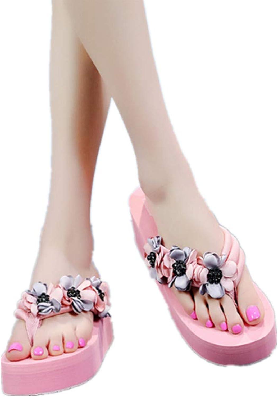 Hoxekle Womens Flower Beads Sweet Wedges Platform Thong Flip Flops Casual High Heel Summer Comfort Beach Sandals