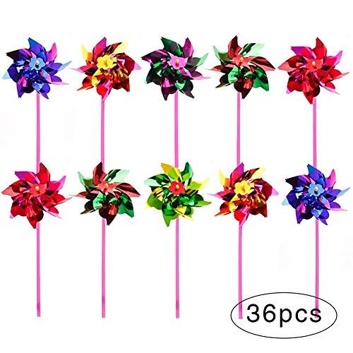 36 Stück Kunststoff Regenbogen Pinwheel Rasen Garten DIY Windmühle Kinder Kinder Party Windrad Windspiel Set für Kinder Spielzeug Garten Rasen Dekor