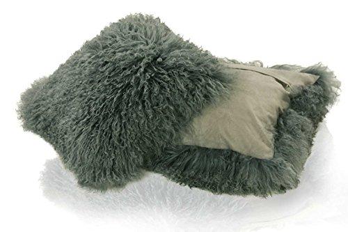 Zaloop Tibetlamm Kissen Kissenbezug Lammfell ca.40x40 cm (grau)