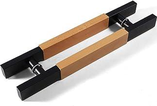 JF-leuningen Glijdende massief hout roestvrij stalen deurgreep, vierkante buis schuifdeurgreep, geschikt voor glazen deur/...