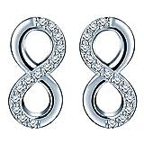 Infinite U Orecchini eleganti con perno da donna, ragazza, con zirconia cubica, simbolo dell'infinito, in argento Sterling 925, argento