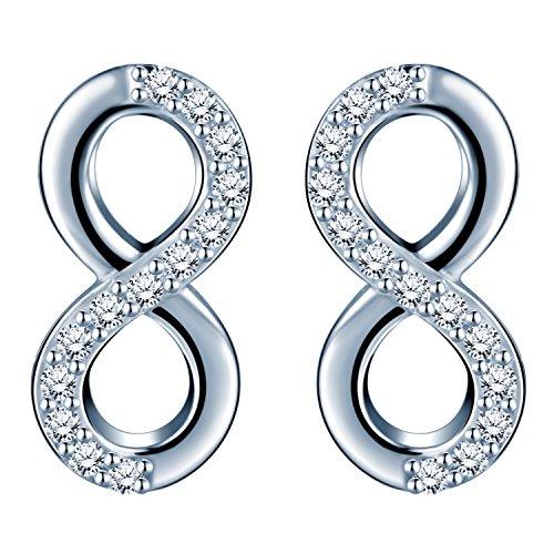 Pendientes de tuerca, de Infinite U, de plata de ley 925 con circonitas y diseño del símbolo de infinito, para mujer y chica