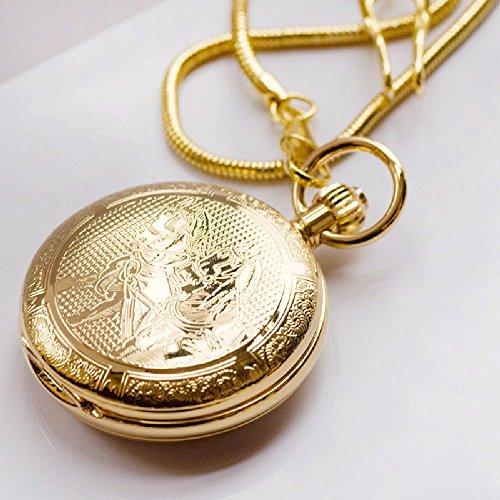 QB-Pocket watches Metal Copper Horse Success movimiento automático mecánico reloj de bolsillo conmemorar el calendario de pared hombres y mujeres Retro Flip