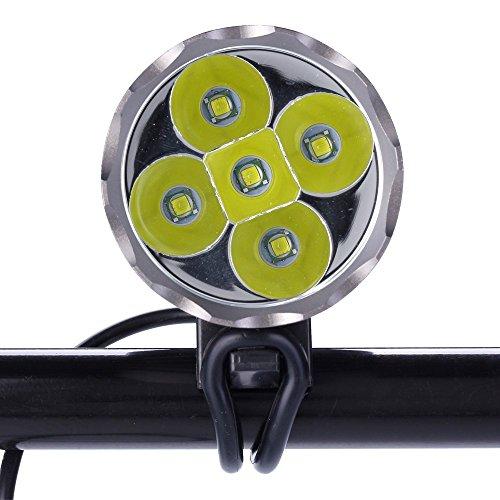Constefire LED Luz Linterna LáMPARA Torch 5X CREE XM-L T6 /CREE 5X 6000 lúmenes LED de Bicicleta/Bici lámpara Luz LED Frontal para Manillar de Bicicleta Bicicletas (5 focos, 3 Modos) con batería