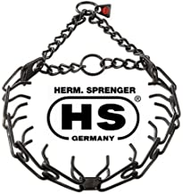 Herm Sprenger Black Stainless Steel 16 Inches With 2.25mm Pinch/Prong Collar Fits Up To 14 Inches Neck Plus 3 Extra Black 2.25mm Links