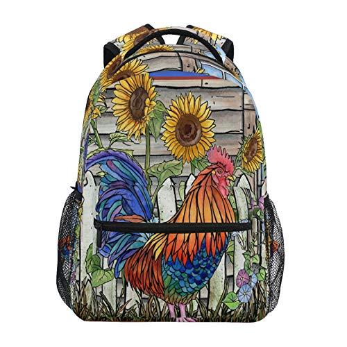JinDoDo Rucksack Wasserfarben Hahn Sonnenblume Garten College Schultasche Casual Schultertasche für...