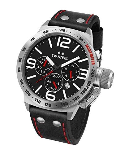 TW Steel Orologio Cronografo Quarzo Unisex con Cinturino in Pelle CS10