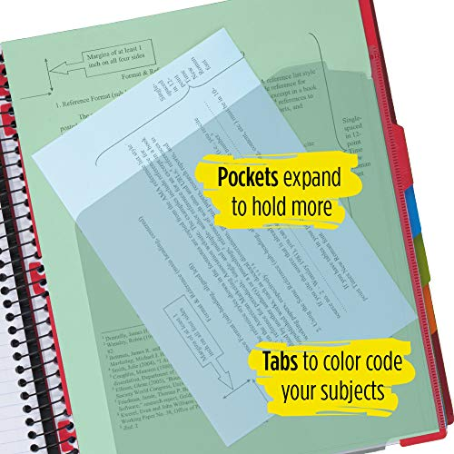 "Five Star Advance Spiral Notebook, 5 Subject, College Ruled Paper, 200 Sheets, 11"" x 8-1/2, Color Selected For You (06326) Photo #8"