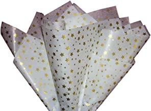 Tissue Paper Gift Wrap Bulk All Colors Wrapping 100 200 300 or 500 Sheets 15 x 20 Assorted Black Blue Fuchsia Gold Green Orange Pink Purple Red Silver White Yellow (Gold Stars, 75 Sheets)
