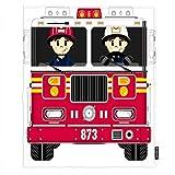AOYEGO Fireman and Fire Engine Throw Blanket Cartoon Firefighter Helmet Fire Red Truck Blankets Decorative Modern Lightweight 30X40 Inch Flannel for Kitten Pets Dogs Women Men