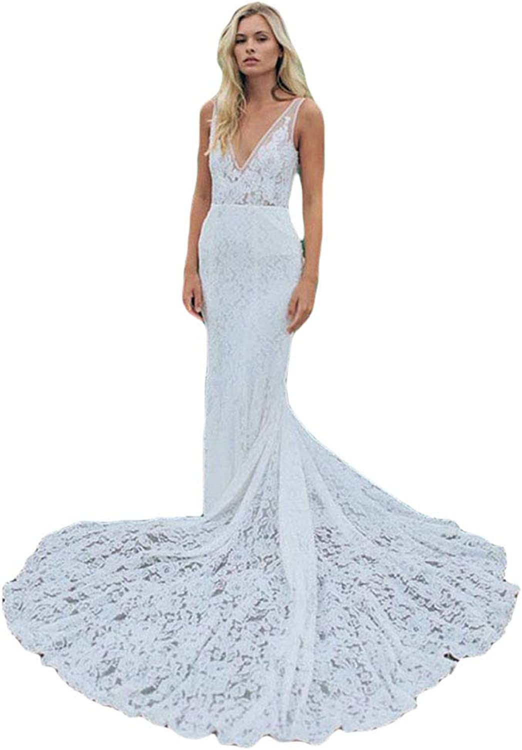Liyuke Deep VNeck Mermaid Lace Wedding Dresses Backless Long Train Sexy Bridal Dress