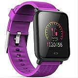 RTGFS Smart Watch Armbanduhr zur Überwachung der Blutdruck-Herzfrequenz Ip67 wasserdicht Fitness Trakcer Uhr für Fitness Mann Frau Smartwatch Kaffee Farbe purpurn