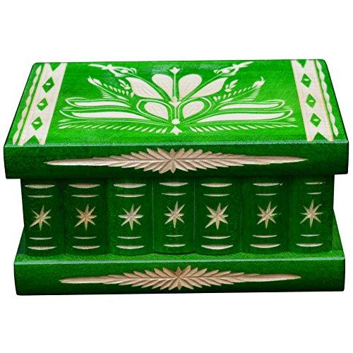 Schmuckkästchen, Schmuckschatulle Schmuck, Schmuckkasten mit Geheimversteck, Geburtstagsgeschenk, Dekorative Aufbewahrung Boxen, Geschnitzt aus Holz, Grün