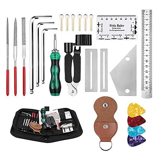 JYMEI 25 Piezas Kit de Herramientas de Mantenimiento,Reparación Guitarra,Kits de Cuidado de Guitarra,Kit de Enrollador de Cuerdas,Bolsa de Almacenamiento de Herramientas de Guitarra