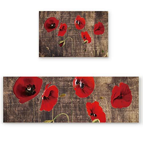Kitchen Area Rug Pad Set 2 Piece-Non Slip Comfort Cushioned Doormat,Red Flower Poppy Vintage Wooden Texture Floor Mat Rug Runner Set Kitchen/Living Room/Bedroom Carpet