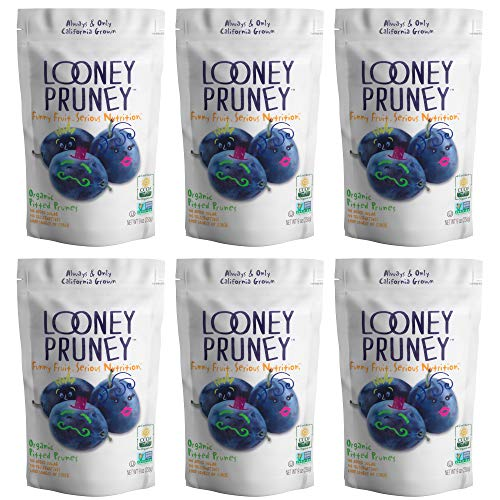 Looney Pruney Organic Pitted Dried Prunes for the Entire Family | Always California-Grown | Kosher | No Added Sugar & No Preservatives (6 pack)