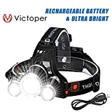 Victoper Wesho Rechargeable Headlight with 3 Lights 4 Modes, 6000 Lumen Super Bright