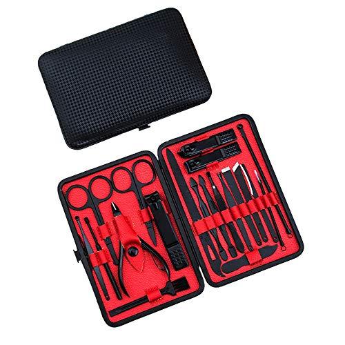 TOOGOO 20Pcs / Set Coupe-Ongles en Acier Inoxydable Coupe-Ongles Ciseaux Set Kits Manucure PéDicure Soins Set (Noir Rouge)