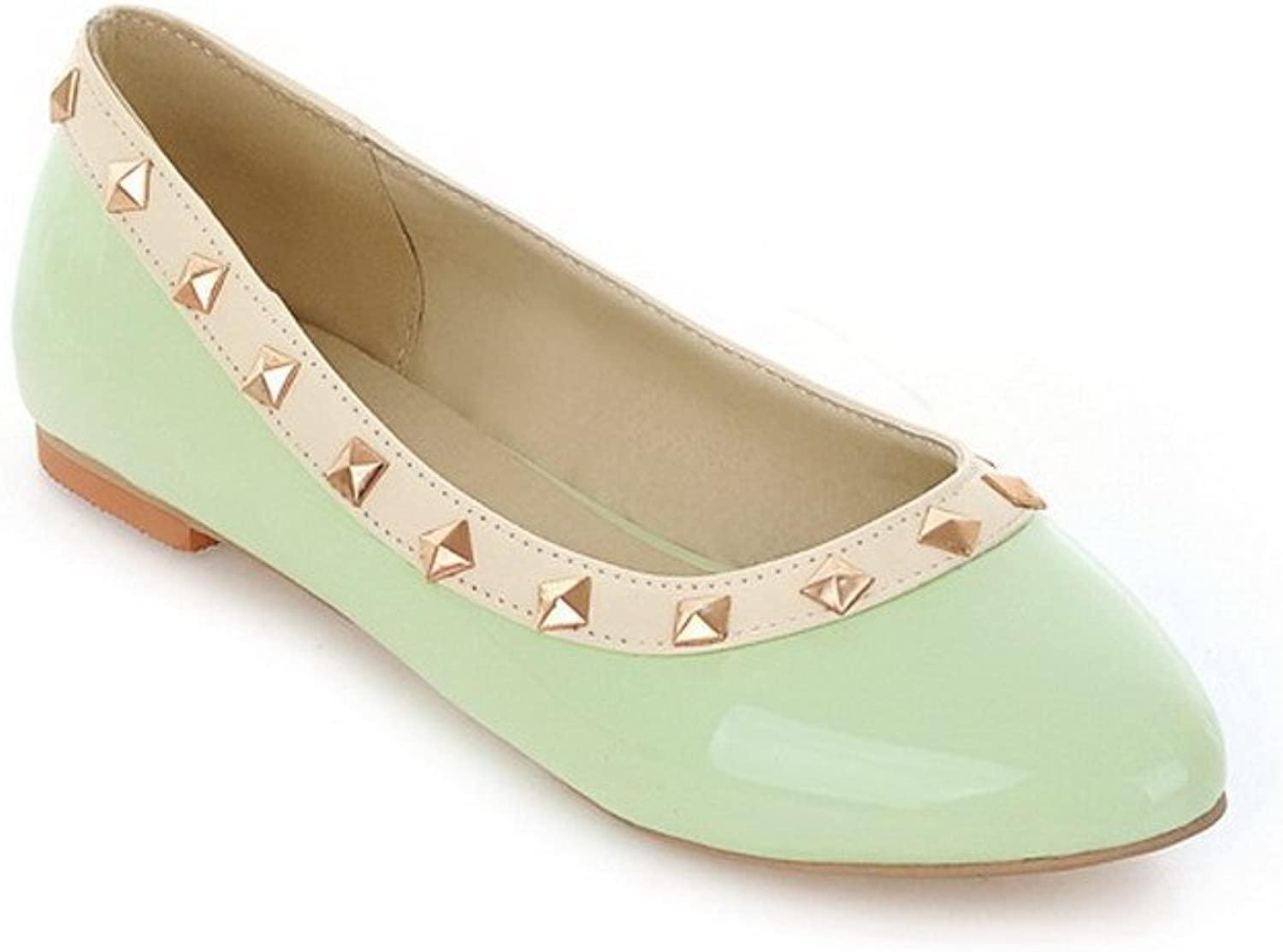 WeenFashion Women's Closed Round Toe Patent Leather PU Solid Flats whith Rivet, Green, 10 B(M) US