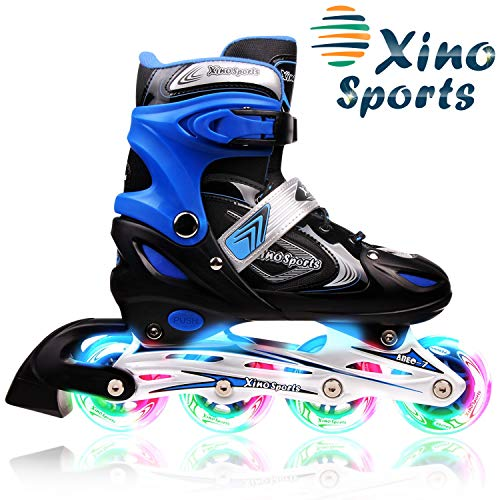 XinoSports Adjustable Kids Inline Skates for Girls & Boys with Light Up Wheels (Ages 5-20) – Roller Skates with Illuminating Wheels – 1 Year Warranty, Life Time Customer Support