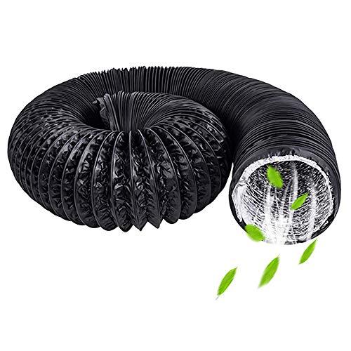 ZXGQF Länge Abluftschlauch Flexibel, PVC Flexibles Aluminiumrohr Lüftung Rohr Für Klimaanlagenschlauchleitungen Für Bad, Küche, Toilette Und Hydroponik-Abzugsventilator (Black,ø 400mm/6m)