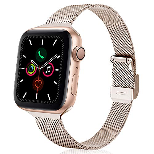 TRA Metal Slim Band Compatible for Apple Watch Band 38mm 40mm 42mm 44mm, Stainless Steel Mesh Adjustable...