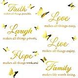 6 Piezas Pegatinas Calcomanía Pared de Motivacional de Faith Hope Love Laugh Family Live con 12 Piezas Calcomanías Mariposa 3D Juego de Pegatinas Citas Inspiración (Oro Brillante)