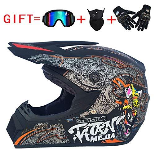 ZXDHELMET Road Helm Adult Motocross Helm MX Off Scooter ATV Helm Multicolor Mit Brille/Handschuhe/Maske D.O.T Certified,B,L58~59CM