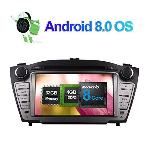 7 pulgadas Android 8.0 Octa Core 4GB RAM Radio estéreo del coche para Hyundai Tucson Ix35/Tucson Ix 2009- 2014 con CD Reproductor de DVD Soporte navegación GPS AM FM RDS Bluetooth 4G WIFI AV-O
