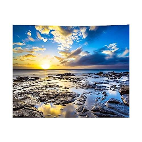 Sunset Sea Tapiz 3D Impreso Playa Onda Hogar Dormitorio Pared Colgar Fondo Paño de Mesa Envoltura 230x180cm