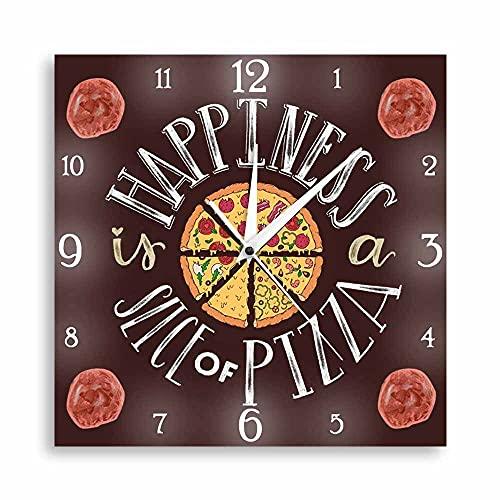 NIGU Orologio da Parete Moderno Happiness Is A Slice Of Pizza Silent Wall Clock Per Cucina Decor Pizza Fette Fastfood Takeaway Art Pizzeria Quadrato Orologio da Parete