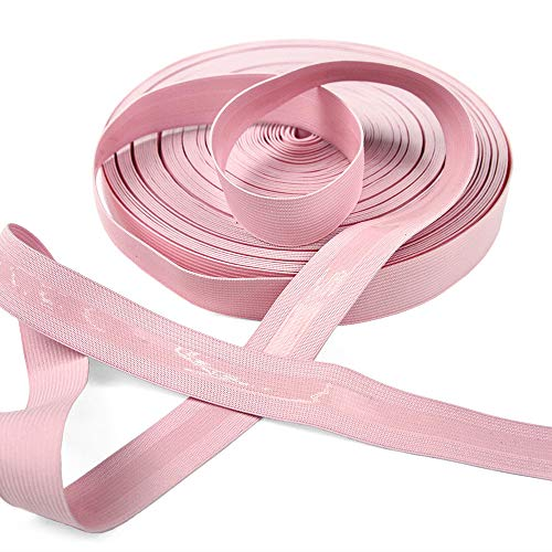 25 Yard Roll of 1' Wide Baby Pink Knitted Elastic with Clear Gripping Siliconee