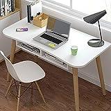 KaminHome - Mesa Escritorio despacho Libby con cajones Oficina hogar Ordenador PC portátil Trabajo Estudio Estilo nórdico escandinavo Patas Madera (Blanco con Soporte (100 cm x 75 cm x 50 cm))
