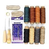 Yuhtech Hilo encerado de piel, 20 piezas de herramientas de mano de cuero para coser hilo encerado de 274,3 m con agujas de coser a mano para manualidades de cuero