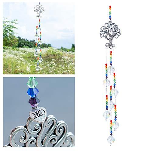 H&D Hyaline & Dora Attrape-soleil en verre à suspendre Motif arbre de vie Arc-en-ciel Pour fenêtre, jardin