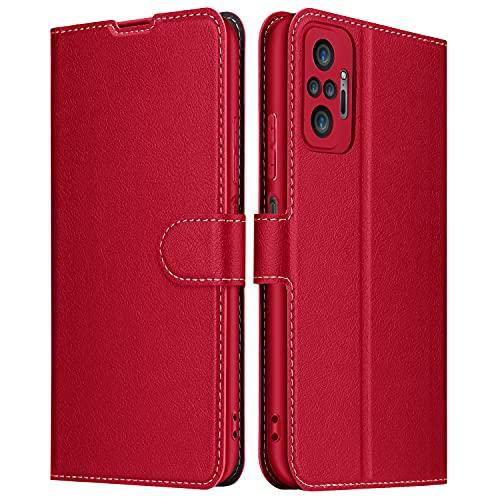 ELESNOW Hülle für Redmi Note 10 Pro/Note 10 Pro Max, Leder Klappbar Schutzhülle Tasche Handyhülle mit [Magnetisch, Kartenfach, Standfunktion] für Xiaomi Redmi Note 10 Pro/10 Pro Max (Rot)