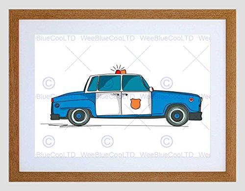 NURSERY AMERICAN POLICE CAR BLUE WHITE COPS KIDS BEDROOM FRAMED PRINT B12X13432