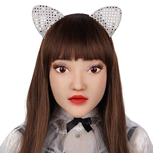 SXFYGYQ Máscara de Cosplay Máscara de Silicona Suave Máscara de Halloween Realista Maquillaje para Mujer Transgénero