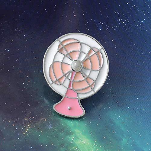 QISKAII Rosa Lindo Mini Ventilador Broche Vintage Ventilador eléctrico Esmalte Solapa Pin...
