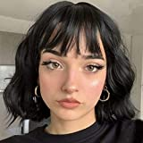 MISSQUEEN Short Wavy Black Wig with Bangs, Short Black Bob Wigs for Women, Wavy Bob Wig with Bangs Synthetic Natural Looking Heat Resistant Fiber Wigs
