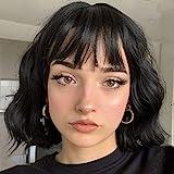 MISSQUEEN Short Wavy Black Wig with Bangs, Synthetic Short Wavy Wigs for Women, Wavy Black bob Wig with Bangs Synthetic Heat Resistant Wigs(Black)