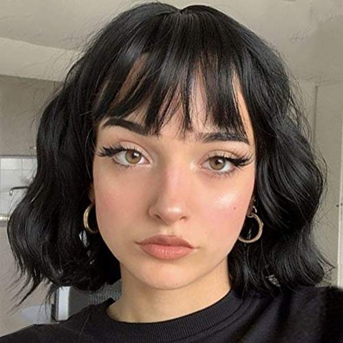 MISSQUEEN Short Wavy Black Wig with Bangs, Synthetic Wavy Hair Wigs for Women, Wavy Black bob Wig with Airs Bangs Synthetic Heat Resistant Wigs(Black Color)